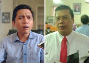 Sekretaris Komisi B DPRD Surabaya Mahfudz (kiri) dan anggota Komisi B DPRD Surabaya John Thamrun.